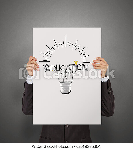 business man showing hand drawn graphic design EDUCATION word and light bulb on poster board as concept