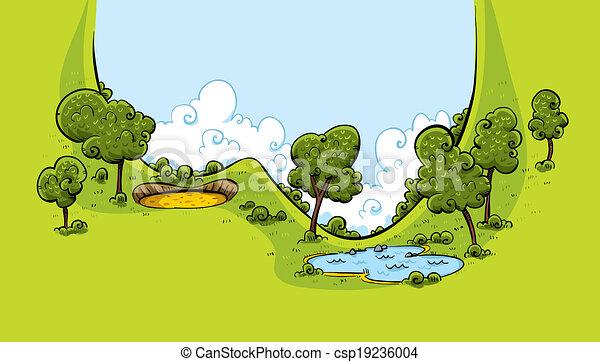 Clipart Vecteur de cours, vallée, golf - a, luxuriant ...