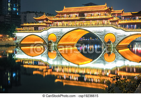 beautiful chengdu anshun bridge closeup - csp19236615