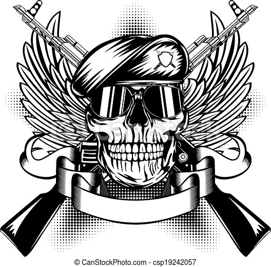 Cool Skull Logos With Guns Skull in beret and two