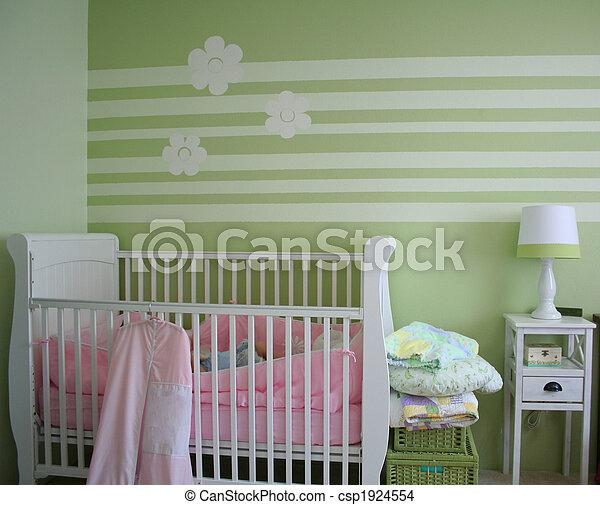 Stock foto van baby slaapkamer verfraaide baby 39 s slaapkamer met csp1924554 zoek - Baby meisje slaapkamer foto ...