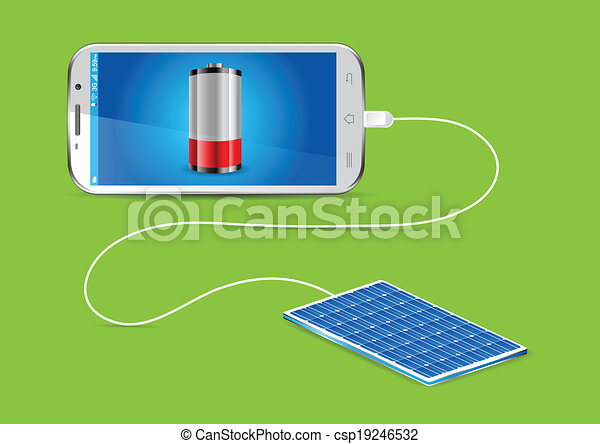 Vectors Of Charging Mobile Phone Solar Charger Charging