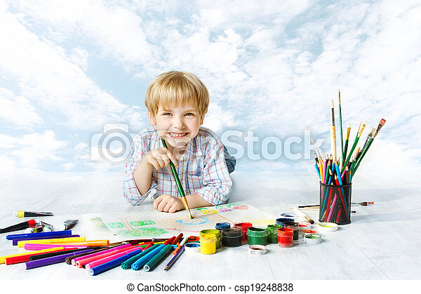 Child painting with color brush using a lot of drawing tools. Happy creative kid artist over blue sky. Creativity and inspiration concept. - csp19248838