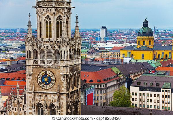 Glockenspiel Clock, Theatine Church in Munich - csp19253420