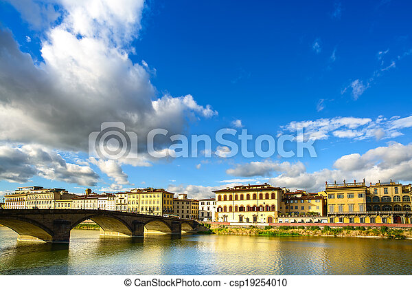 Florence, Ponte alla Carraia medieval Bridge landmark on Arno river, sunset landscape with reflection. It is the second oldest bridge, built in 1218, in the city. Tuscany, Italy. - csp19254010