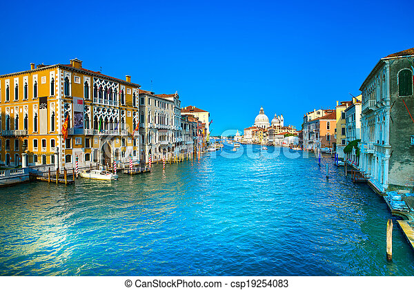 Venice grand canal view, Santa Maria della Salute church landmark. Italy, Europe. - csp19254083