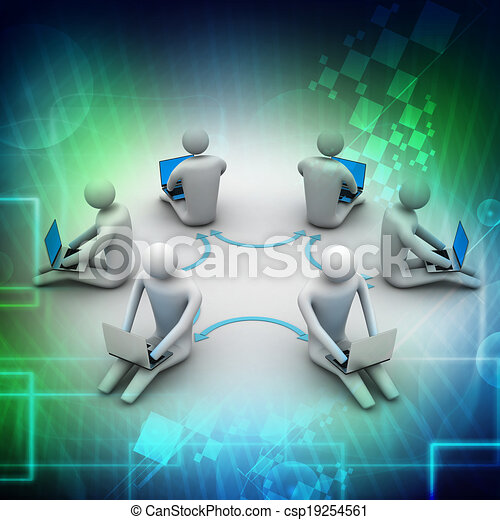 3d illustration of people working o - csp19254561