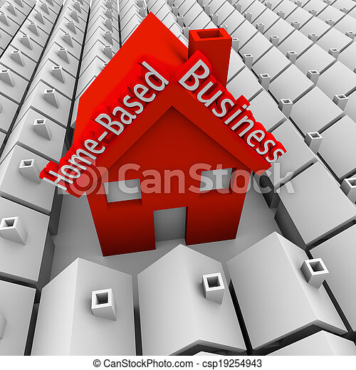 Home Based Business words on a big red house standing out in a neighborhood of small homes to illustrate a self-employed person or entrepreneur starting a new company - csp19254943