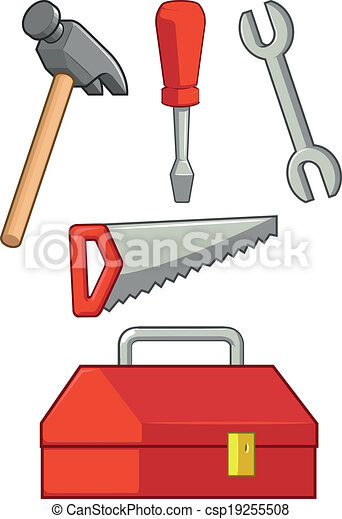 Vector Clipart of Hand Tool, Hammer Screwdriver Wrenc - A vector ...