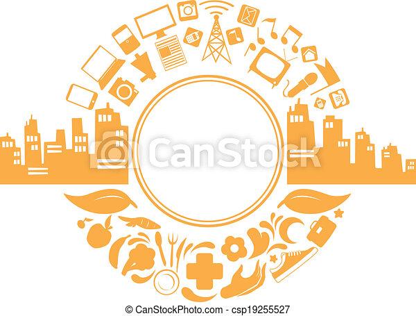 Modern city life silhouette csp19255527
