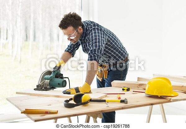 木匠, 切, 看見, 板條, 圓 - csp19261788