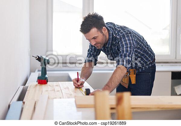 測量, 木制, 微笑, 木匠, 板條 - csp19261889
