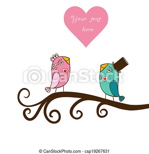 Beautiful birds in love.Illustration of cartoon birds on branch, two romantic birds sitting on the tree. Valentine's day card with place for your text. - csp19267631