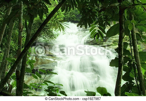 waterfalls in green forest - csp1927987