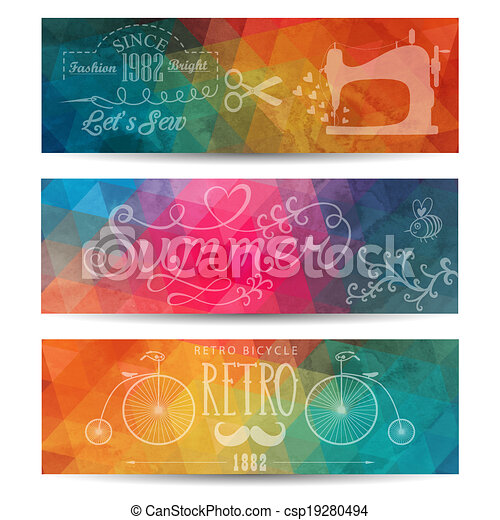 Grunge vector banner. Abstract header vector background. Triangle seamless banners. Retro label design. Geometric shapes. You can place your message above triangles rectangle. Grunge. - csp19280494