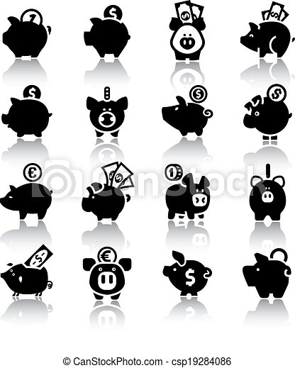 Piggy bank set16, with reflection - csp19284086