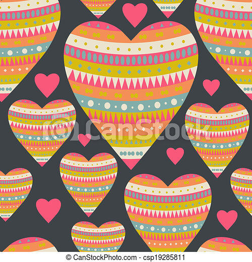 Seamless pattern with hearts for Valentine's Day design. Decorative backdrop with hearts. Tribal style. Romantic background. Holiday texture. - csp19285811