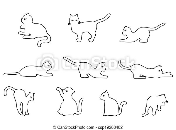 Vecteur de contour chat chat sur a blanc fond - Dessin contour ...