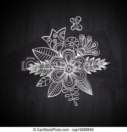 Dessin de craie fleur dessin tableau flower sch ma craie sur csp19288849 recherchez - Dessin a la craie ...