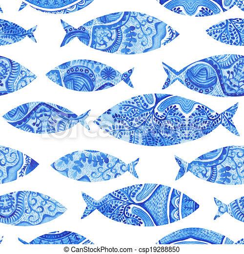 illustrations de bleu aquarelle tissu fish fond peint. Black Bedroom Furniture Sets. Home Design Ideas