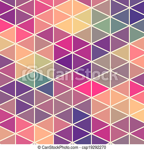 Triangles pattern of geometric shapes. Colorful mosaic backdrop. Geometric hipster retro background, place your text on the top of it. Retro triangle background. Backdrop - csp19292270