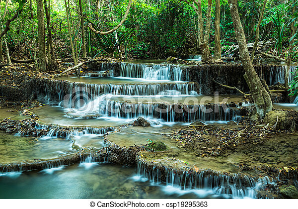 Stock Image of Huay Mae Khamin Waterfalls at Sri Nakarin ...