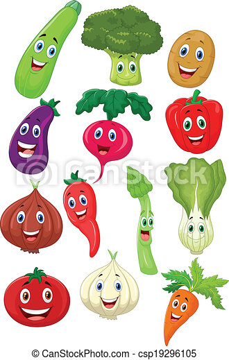 Cute vegetable cartoon character  - csp19296105