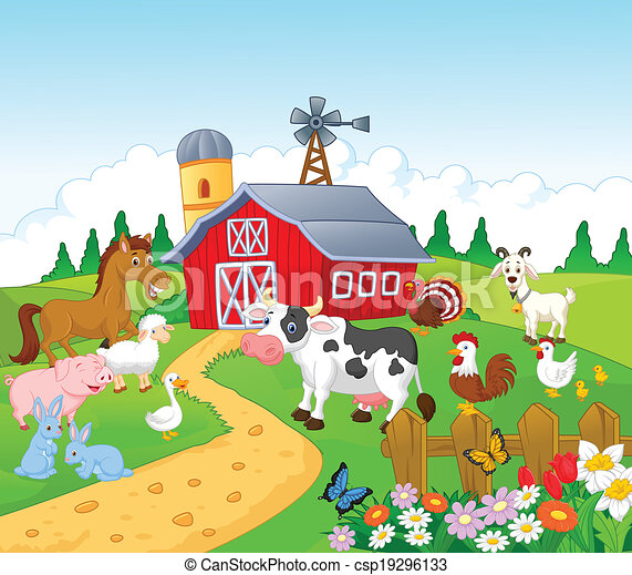 Cartoon Farm background with animal - csp19296133