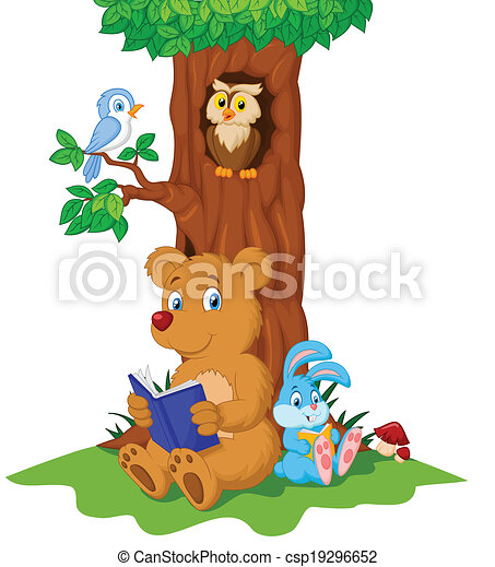 Cute animals cartoon reading book - csp19296652