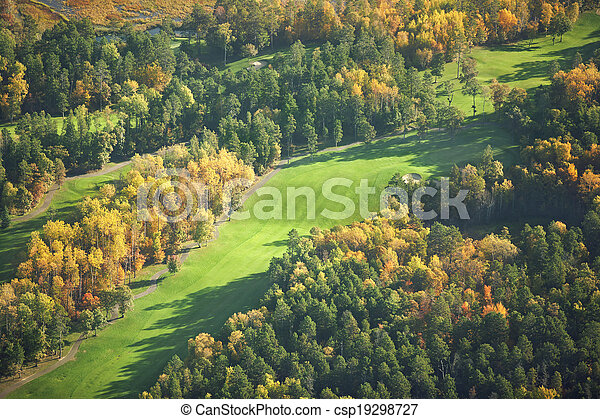 Aerial view of golf course in the fall - csp19298727