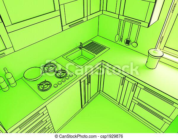 Illustration de vert cuisine 3d amende 3d for Dessiner cuisine 3d