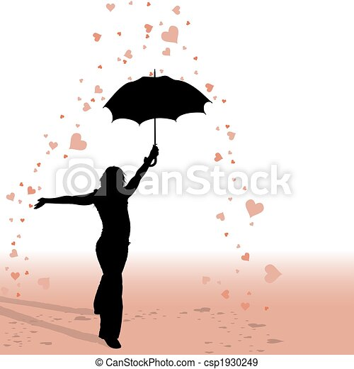 Girl and Umbrella - Hearts Rain - csp1930249