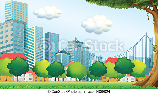 Trees near the tall buildings - csp19309024