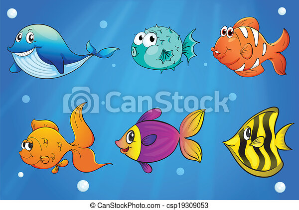 Clipart vectorial de diferente clases peces debajo for Wyoming game and fish draw results