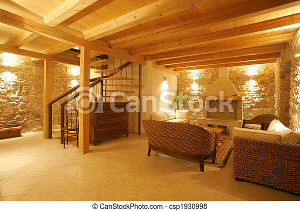bilder von luxus stein landhaus inneneinrichtung erleuchtet nacht csp1930998 suchen sie. Black Bedroom Furniture Sets. Home Design Ideas