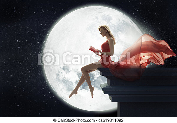 Cute woman over full moon background - csp19311092