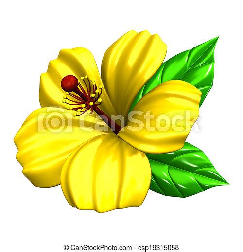 Illustrations de hibiscus jaune yellow hibiscus 3d render csp19315058 recherchez - Dessin hibiscus ...