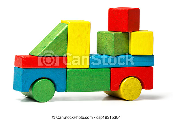 toy truck, multicolor car wooden blocks transportation, cargo delivery, over white background - csp19315304