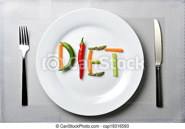 diet written with vegetables in healthy nutrition concept - csp19316593