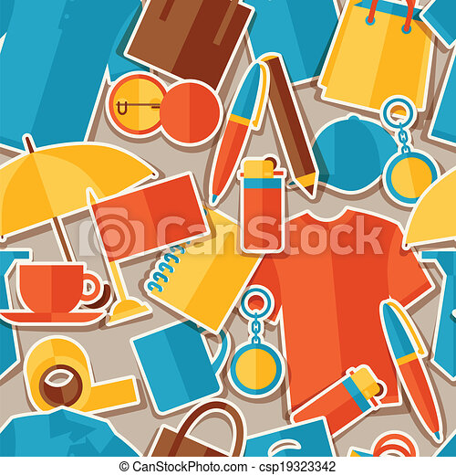 Seamless pattern with promotional gifts and souvenirs. - csp19323342