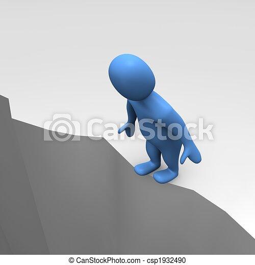 Man at sheer cliff - csp1932490