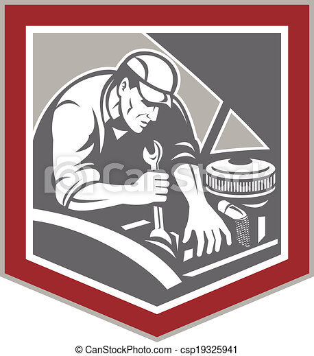 Car Mechanic Repair Automobile Shield Retro - csp19325941