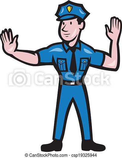 Vecteur eps de policier signal arr t main trafic - Dessin policier ...