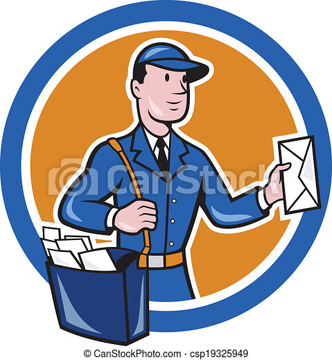 EPS Vector of Mailman Postman Delivery Worker Circle Cartoon ...