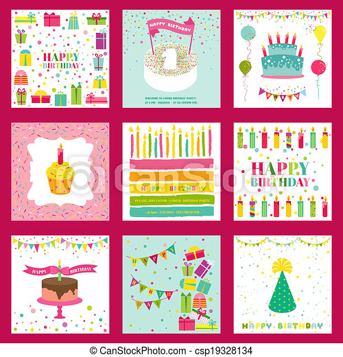 Set of Happy Birthday and Party Invitation Card - with place for your text - in vector - csp19328134