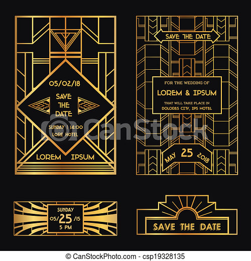 Save the Date - Wedding Invitation Card - Art Deco Vintage Style - in vector - csp19328135
