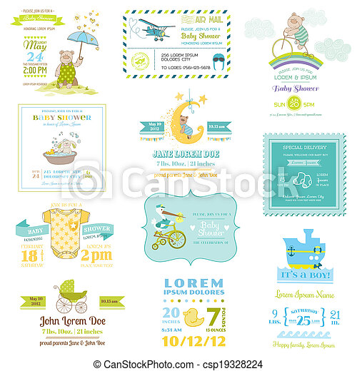 Set of Baby Shower and Arrival Cards - for design and scrapbook - in vector - csp19328224
