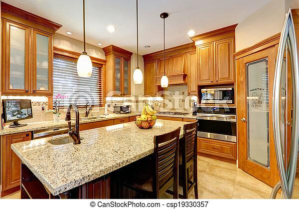 Stock beelden van kamer, eiland, toonbank, luxe, marmer, keuken ...