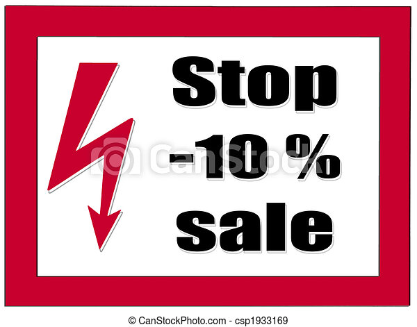 Letter plate with notice: stop -10% sale - csp1933169