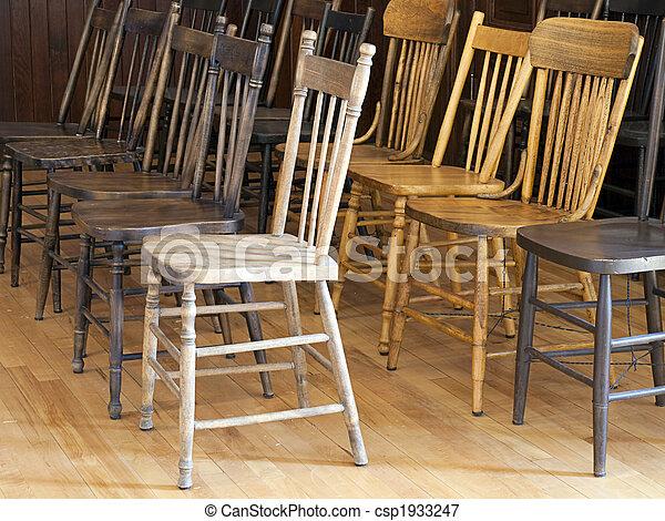 anticaglia, legno, sedie - csp1933247